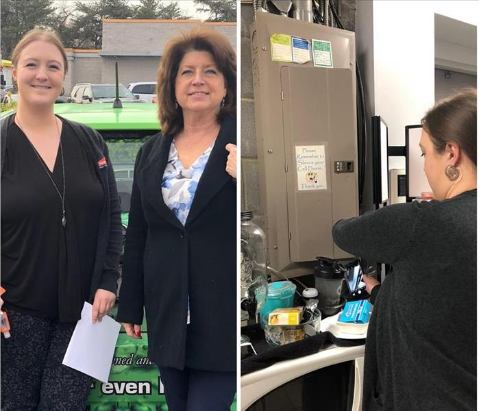 Two pictures. First picture of 2 business women. Second photo of one woman taking a picture of a business electrical panel